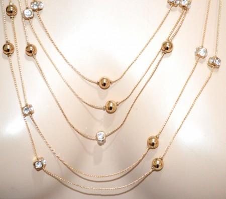 COLLANA lunga oro donna multi fili dorata strass cristalli collier elegante BB18