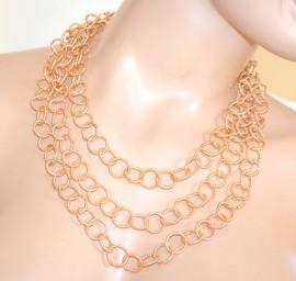 COLLANA ORO donna girocollo anelli dorata diamantata collier halsband colar F200