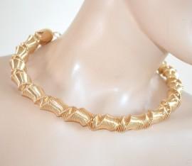 COLLANA ORO girocollo donna elegante collarino rigido sexy collier dorato neckalace E1