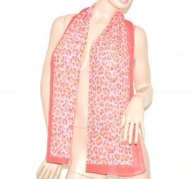 FOULARD donna seta velato stola coprispalle x abito\vestito bufanda mujer leopardato  salmone 54