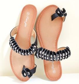 INFRADITO NERI donna sandali bassi eco pelle ciabatte cristalli eleganti E90