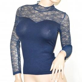MAGLIA BLU donna pizzo ricamata maglietta sottogiacca manica lunga lupetto A43