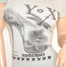 MAGLIA donna GRIGIO maglietta T-SHIRT sottogiacca cotone strass mezza manica corta girocollo E126