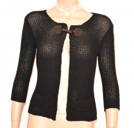 MAGLIA FILO CARDIGAN NERA donna coprispalle maglietta manica 3\4 bolero E205