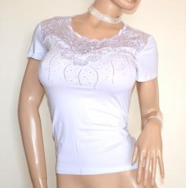 MAGLIETTA BIANCA donna maglia t-shirt manica corta cotone pizzo ricamo strass G40