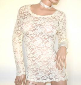 MAGLIETTA donna bianca avorio maglia sottogiacca pizzo ricamata manica lunga party A52