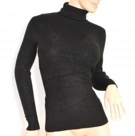 MAGLIETTA donna NERA collo alto maglia manica lunga lana maglione sottogiacca pullover E15