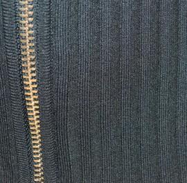 MAGLIETTA NERA donna CARDIGAN aperto maglia manica lunga sottogiacca zip oro F20