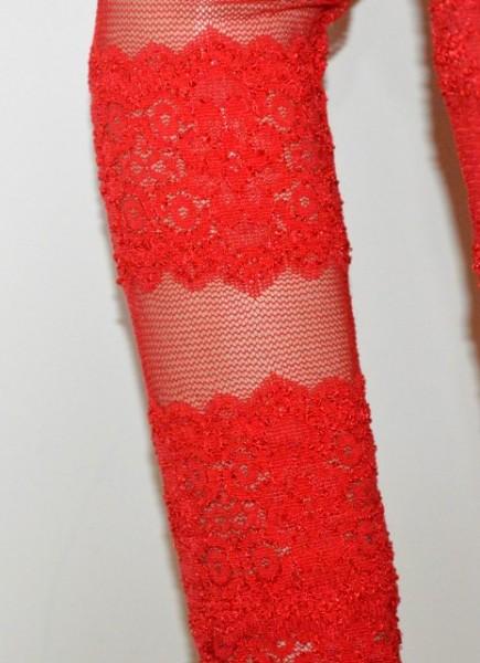 MAGLIETTA ROSSA donna maglia velata pizzo manica lunga ricamata sottogiacca veiled sweater G60