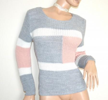 MAGLIONE lana donna grigio bianco rosa golfino girocollo manica lunga lana maglia made in italy G64