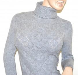 MAGLIONE LUNGO GRIGIO donna maxi pull collo alto maglietta maglia dolcevita manica lunga G5