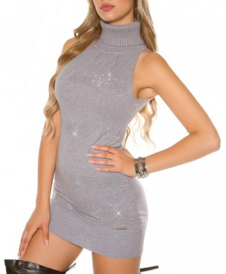MAXI PULL GRIGIO donna maglione smanicato maglietta sottogiacca collo alto A12
