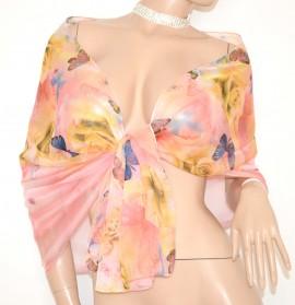 MAXI STOLA velata foulard donna floreale coprispalle ROSA CIPRIA BEIGE farfalle cerimonia  65X