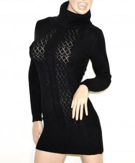MINI ABITO MAXI PULL NERO donna vestito collo alto dolcevita manica lunga G10