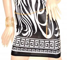 MINI ABITO NERO BIANCO con cintura oro donna vestito abito tubino estivo elastico sexy 72