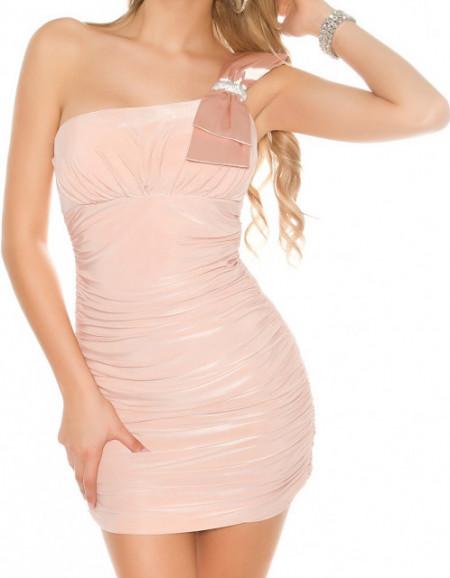 MINI ABITO ROSA CIPRIA donna vestito corto monospalla tubino elegante damigella A34