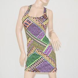 MINI ABITO vestito donna lilla viola verde tubino giromanica copricostume cotone\lino miniabito dress vestido MULTICOLORE 63