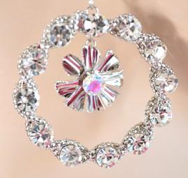 MONO ORECCHINI donna cristalli argento strass cerchio ciondolo elegante H30