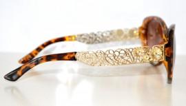OCCHIALI da SOLE donna Marroni leopardati fiori ORO montatura dorata FLOREALE lunettes lenti 75