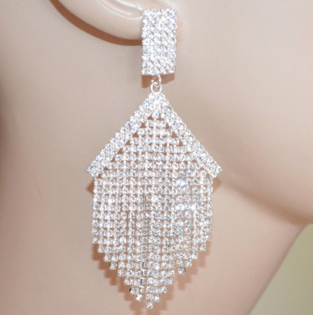 ORECCHINI ARGENTO platino donna STRASS multi fili pendenti lunghi cristalli cerimonia sposa S82