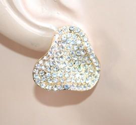 ORECCHINI donna a lobo oro dorati bottone strass bigiotteria regalo bijoux F270