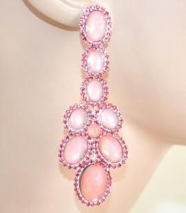 ORECCHINI donna argento  cristalli ROSA strass pendenti damigella F140