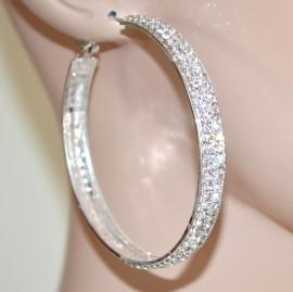Orecchini donna cerchi argento strass cristalli brillantini eleganti cerimonia F91
