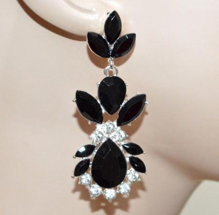 ORECCHINI donna CRISTALLI argento platino strass neri brillantini boucles CC175