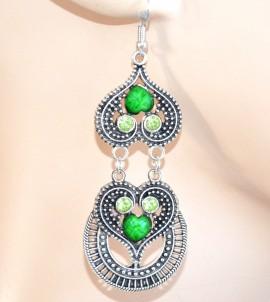 Orecchini donna verde ragazza argento pietre strass pendenti cuori brillantini F60