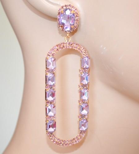 ORECCHINI LILLA GLICINE VIOLA ORO donna cristalli pendenti ovali strass BB75