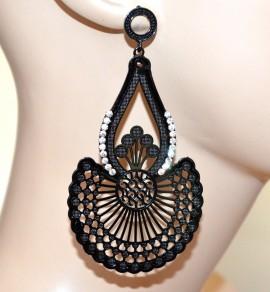 Orecchini neri pendenti lunghi donna metallizzati strass brillantini earrings A33