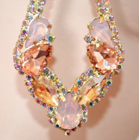 ORECCHINI ORO AMBRA ROSA CIPRIA strass boreali cristalli donna pendenti eleganti lunghi BB56