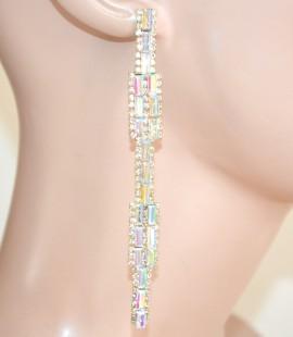 ORECCHINI ORO BOREALE  donna  pendenti lunghi  sposa cristalli strass eleganti   L10