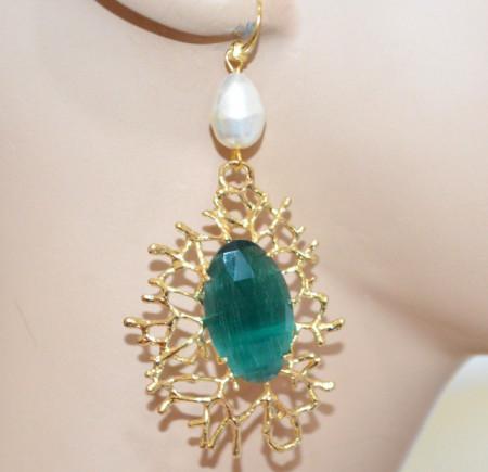 ORECCHINI ORO Cristallo Verde Smeraldo Perla donna Argento 925 pendenti bronzo dorato P2