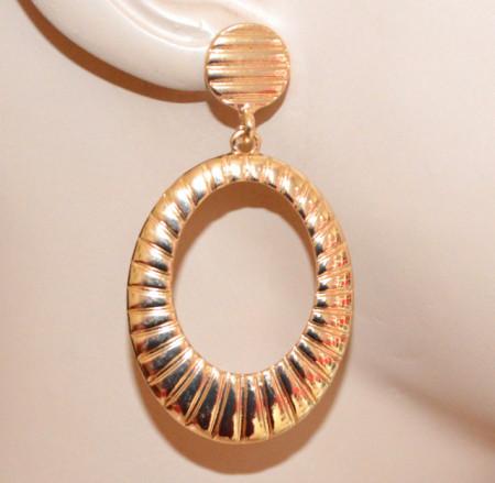 ORECCHINI ORO donna pendenti cerchi ovali zigrinati dorati gold earrings CC178
