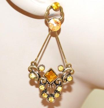ORECCHINI oro dorato strass cristalli ambra gialli donna pendenti etnici ragazza earrings CC18