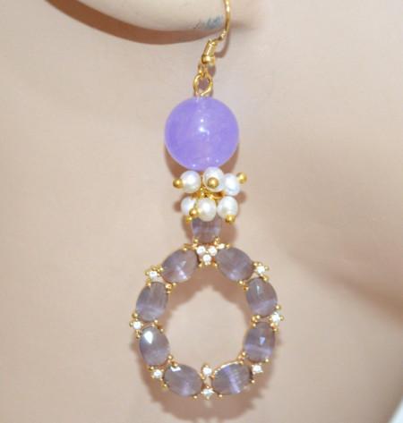 ORECCHINI PIETRE LILLA GLICINE donna oro Perle pendenti Occhio di Gatto strass P26