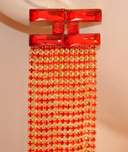 ORECCHINI ROSSI ORO cristalli donna fili strass pendenti lunghi eleganti pendientes boucles G52