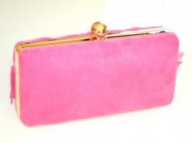 POCHETTE donna ROSA FUCSIA ORO elegante borsello borsa clutch borsetta frangia party cerimonia E65