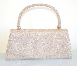 POCHETTE ORO BEIGE donna elegante brillantini borsello borsetta clutch borsa Z12