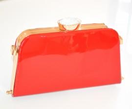 POCHETTE ROSSA ORO donna elegante clutch bag cristalli vernice borsello da cerimonia borsa da sera H25
