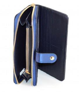 PORTAFOGLIO BLU NERO donna borsello zip oro dorato pochette portamonete borsa A4