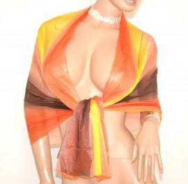 STOLA ARANCIO  CORALLO  GRIGIO GIALLO  donna maxi  foulard cerimonia seta velata coprispalle abito da sera E45