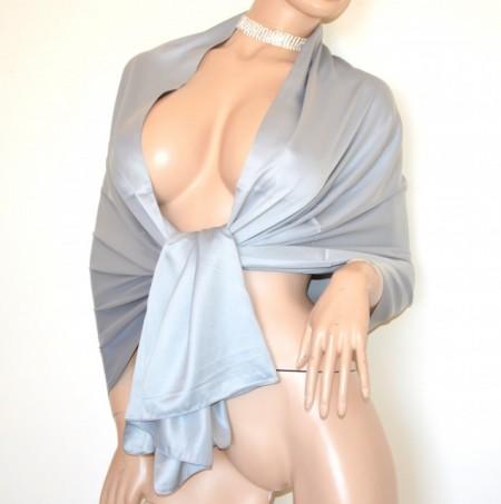 STOLA ARGENTO donna maxi foulard grigio seta coprispalle scialle sciarpa raso elegante cerimonia G82