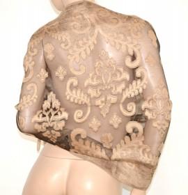 STOLA BEIGE ORO NERO donna elegante coprispalle seta velato abito da sera MAXI FOULARD  cerimonia Z4