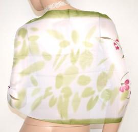 STOLA foulard elegante coprispalle donna 40% seta bianco verde cerimonia A22