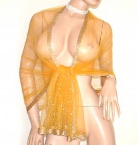 STOLA GIALLA ORO foulard donna coprispalle scialle tulle velato perle strass G20
