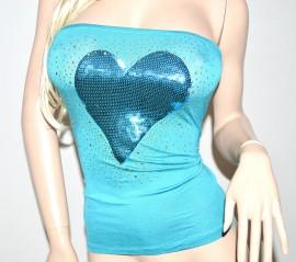 Top fascia azzurra donna maglietta maglia canotta t-shirt cuore paillettes celeste cotone chiodini oro 23