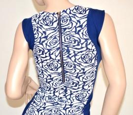 Vestito abito donna miniabito blu mini dress floreale tubino da sera sexy zip oro elegante 79