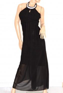 VESTITO donna NERO elegante ABITO LUNGO strass seta cerimonia party dress E130